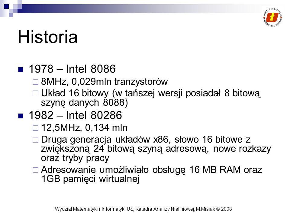 Historia 1978 – Intel 8086 1982 – Intel 80286