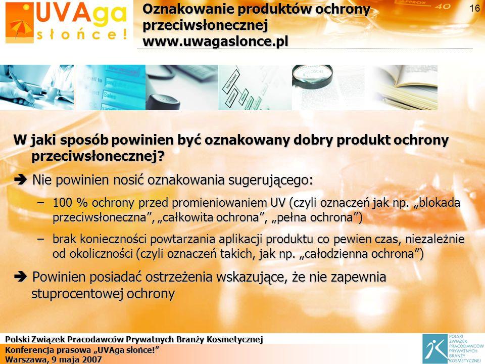 Oznakowanie produktów ochrony przeciwsłonecznej www.uwagaslonce.pl