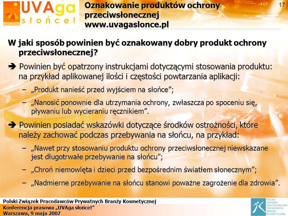 Oznakowanie produktów ochrony przeciwsłonecznej www.uvagaslonce.pl