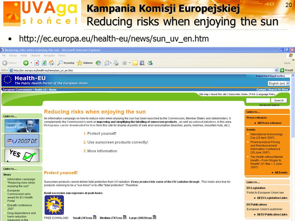 Kampania Komisji Europejskiej Reducing risks when enjoying the sun