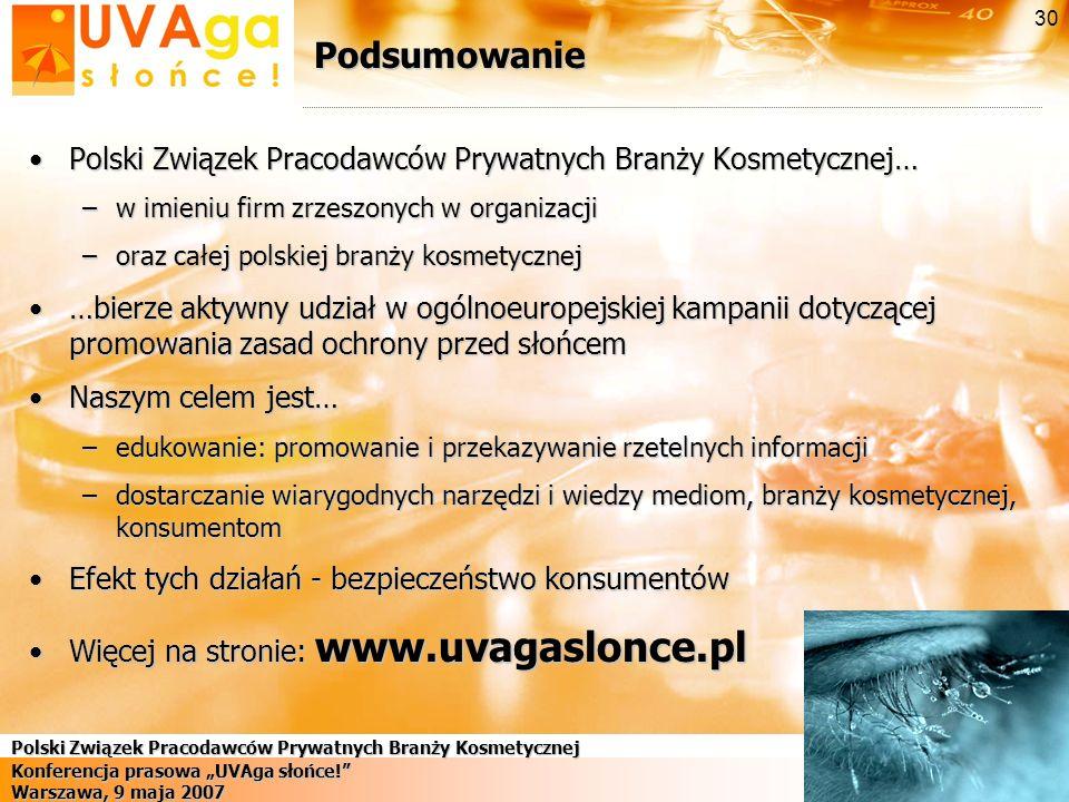 Podsumowanie Polski Związek Pracodawców Prywatnych Branży Kosmetycznej… w imieniu firm zrzeszonych w organizacji.