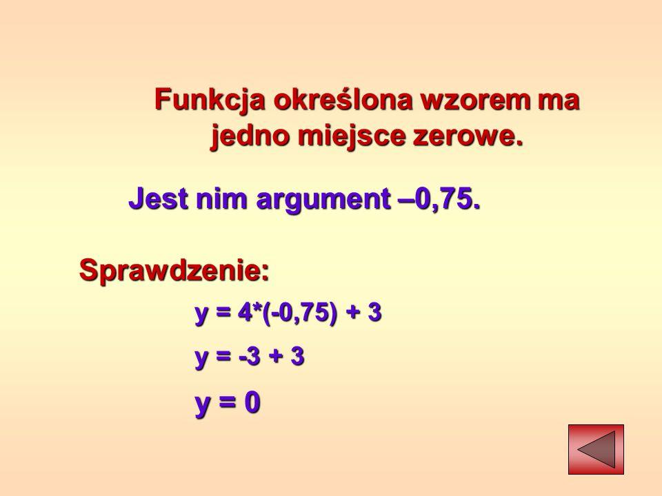 Funkcja określona wzorem ma jedno miejsce zerowe.