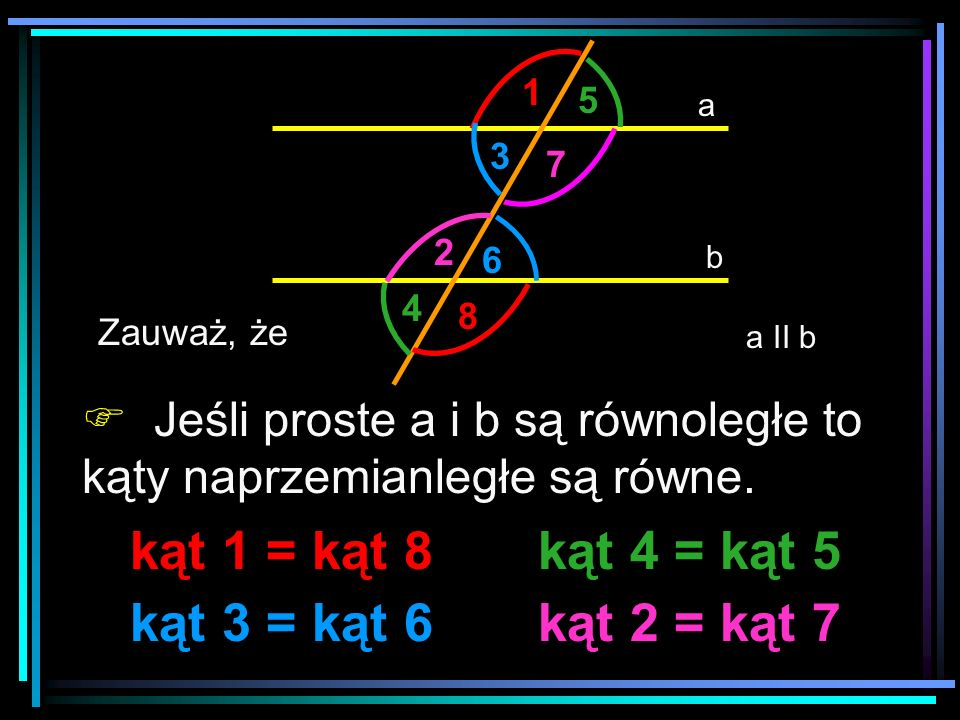 kąt 1 = kąt 8 kąt 4 = kąt 5 kąt 3 = kąt 6 kąt 2 = kąt 7