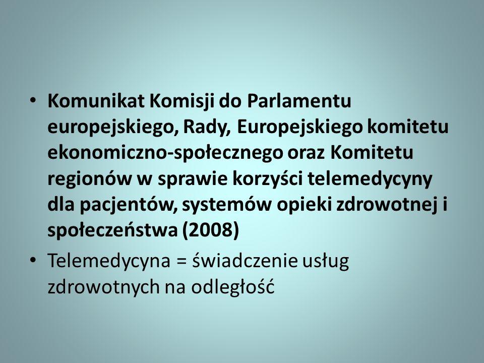 Komunikat Komisji do Parlamentu europejskiego, Rady, Europejskiego komitetu ekonomiczno-społecznego oraz Komitetu regionów w sprawie korzyści telemedycyny dla pacjentów, systemów opieki zdrowotnej i społeczeństwa (2008)