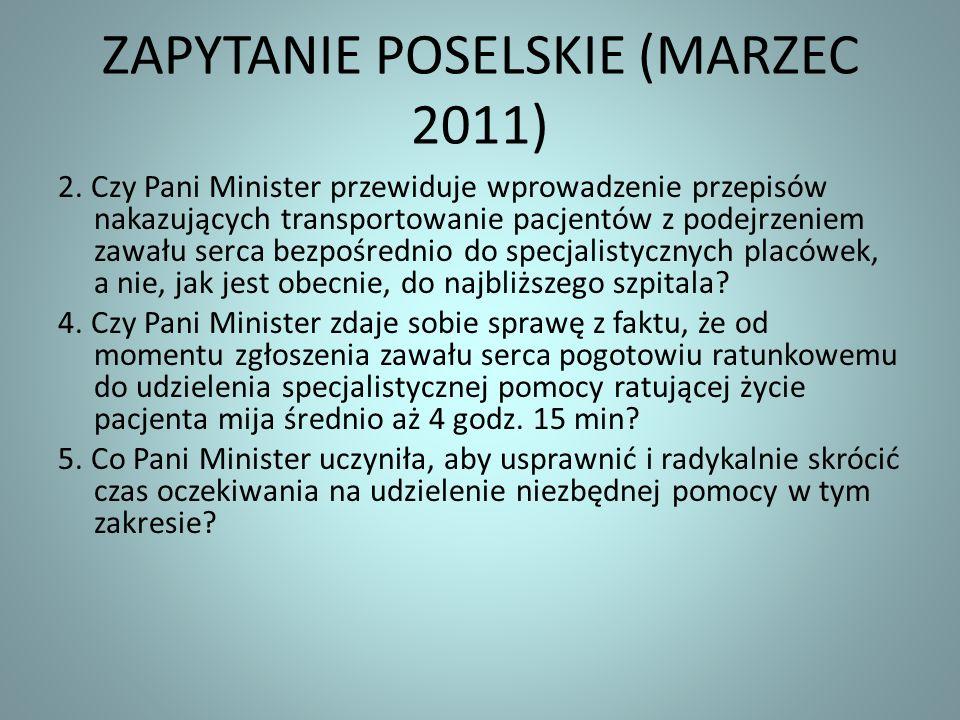 ZAPYTANIE POSELSKIE (MARZEC 2011)