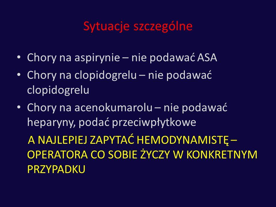 Sytuacje szczególne Chory na aspirynie – nie podawać ASA