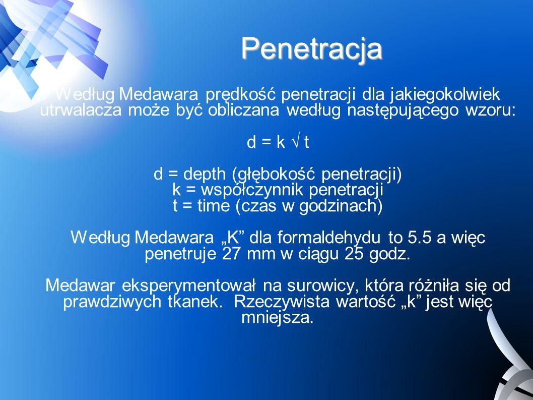 Penetracja Według Medawara prędkość penetracji dla jakiegokolwiek utrwalacza może być obliczana według następującego wzoru:
