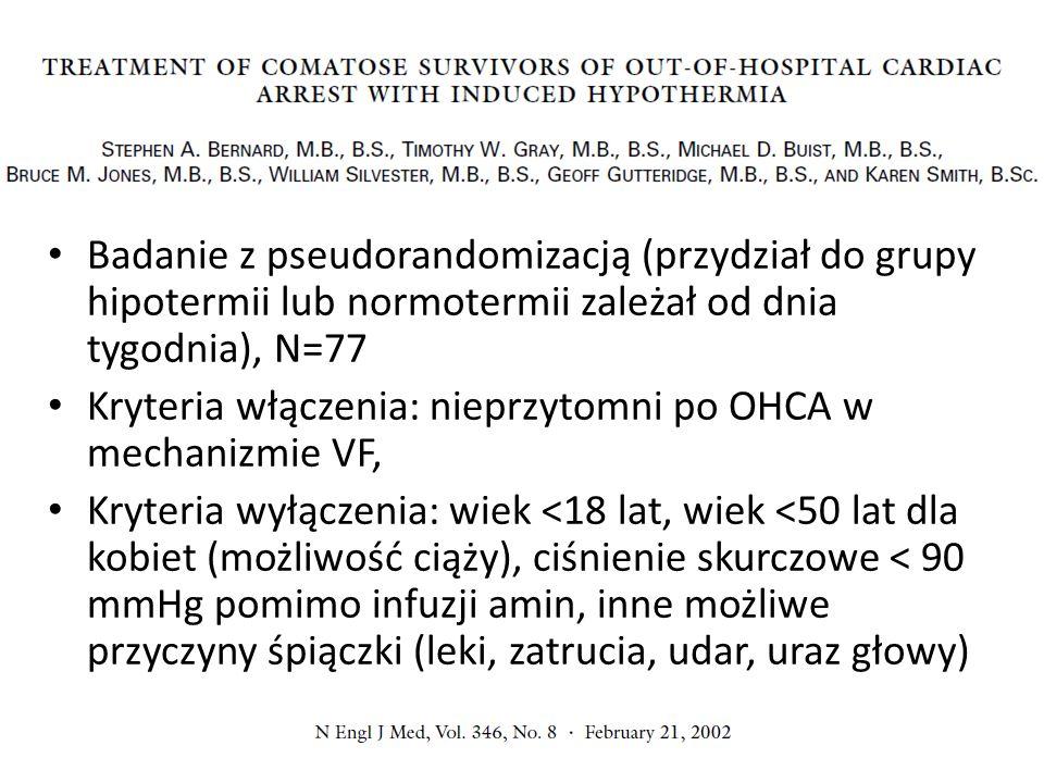 Badanie z pseudorandomizacją (przydział do grupy hipotermii lub normotermii zależał od dnia tygodnia), N=77