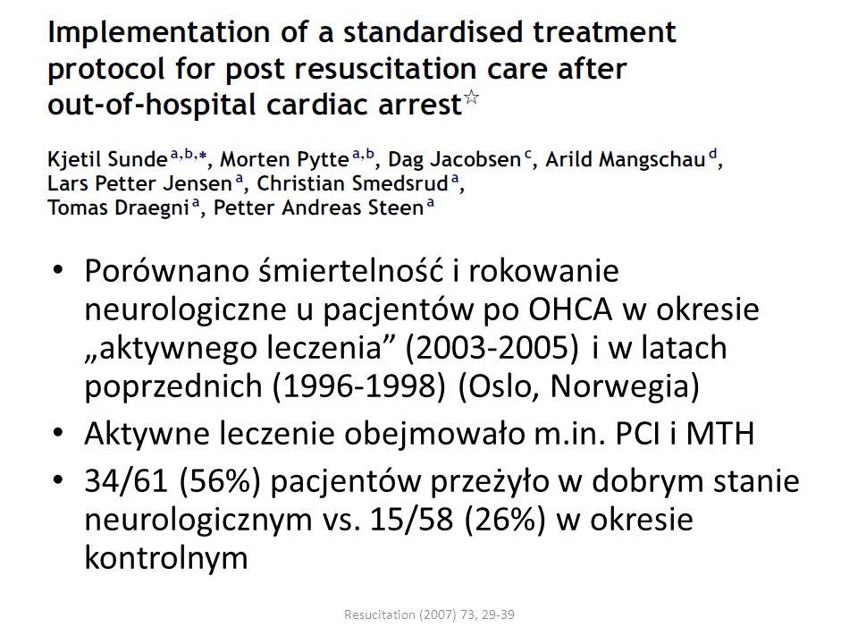 Aktywne leczenie obejmowało m.in. PCI i MTH