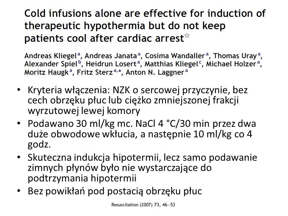 Kryteria włączenia: NZK o sercowej przyczynie, bez cech obrzęku płuc lub ciężko zmniejszonej frakcji wyrzutowej lewej komory