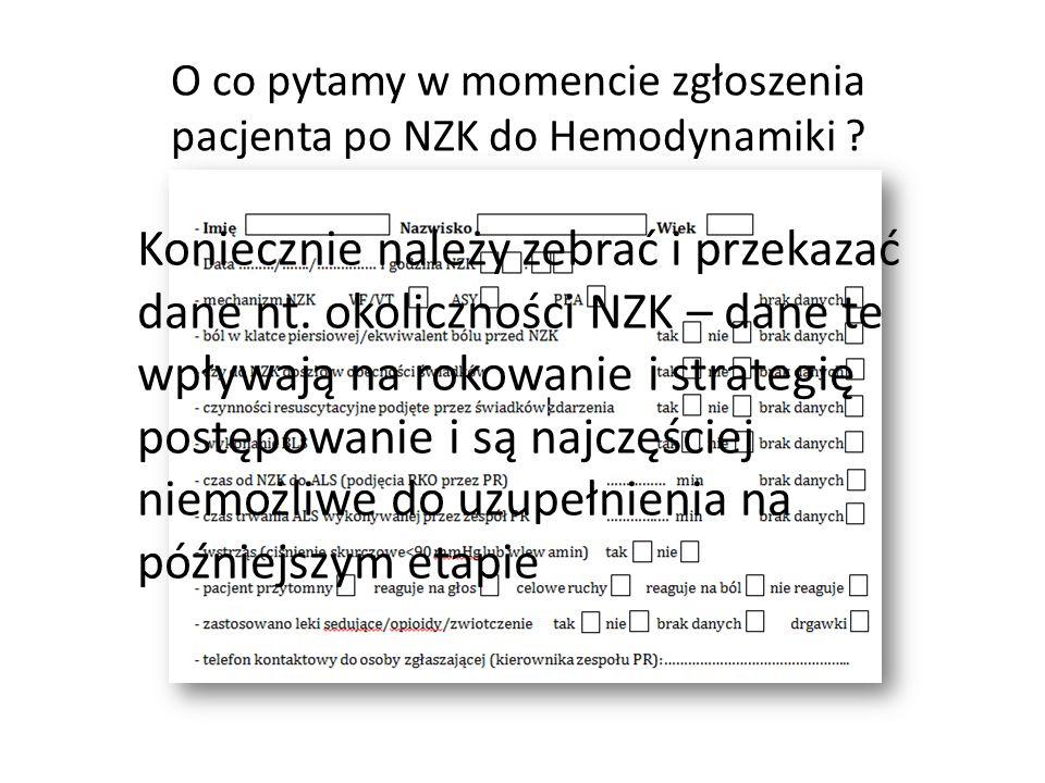 O co pytamy w momencie zgłoszenia pacjenta po NZK do Hemodynamiki
