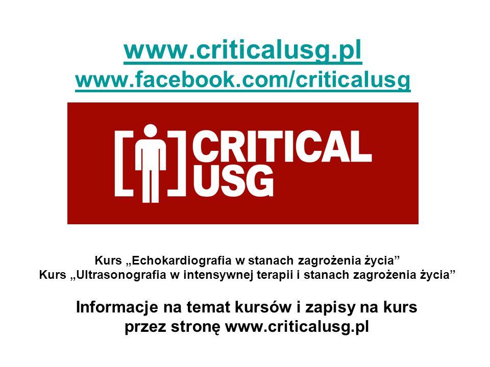 www.criticalusg.pl www.facebook.com/criticalusg