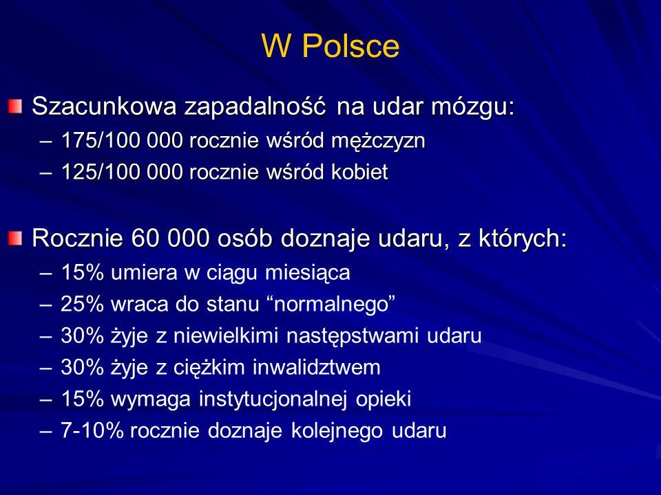 W Polsce Szacunkowa zapadalność na udar mózgu: