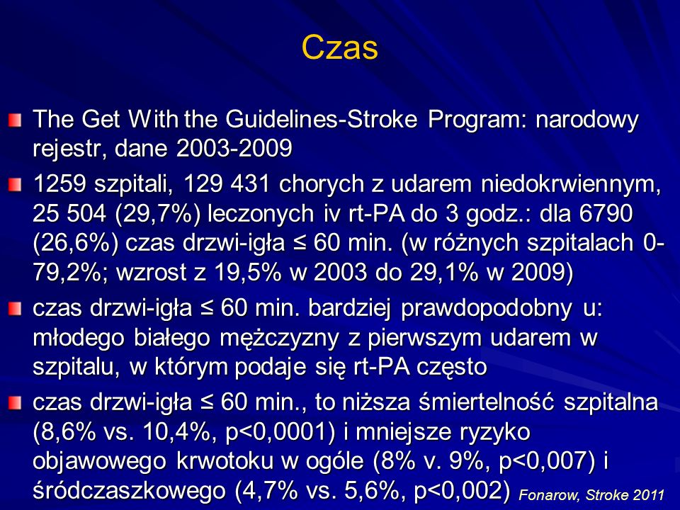 Czas The Get With the Guidelines-Stroke Program: narodowy rejestr, dane 2003-2009.