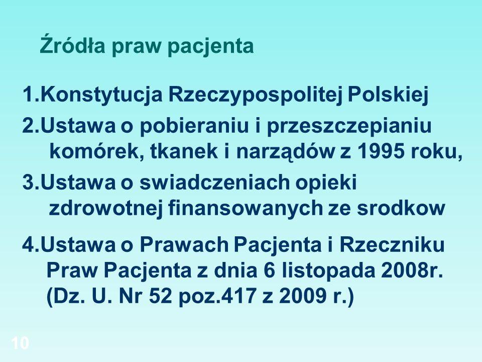 Źródła praw pacjenta 1.Konstytucja Rzeczypospolitej Polskiej. 2.Ustawa o pobieraniu i przeszczepianiu komórek, tkanek i narządów z 1995 roku,