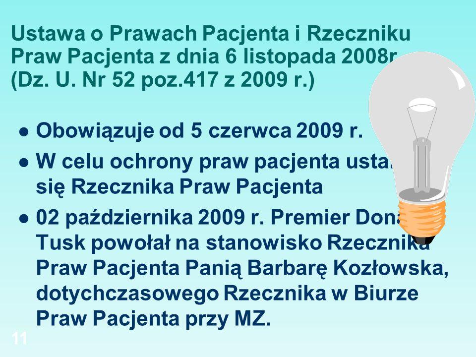 Ustawa o Prawach Pacjenta i Rzeczniku Praw Pacjenta z dnia 6 listopada 2008r. (Dz. U. Nr 52 poz.417 z 2009 r.)