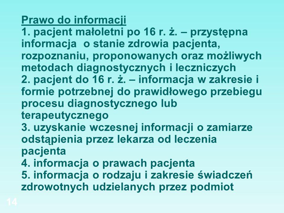 Prawo do informacji 1. pacjent małoletni po 16 r. ż
