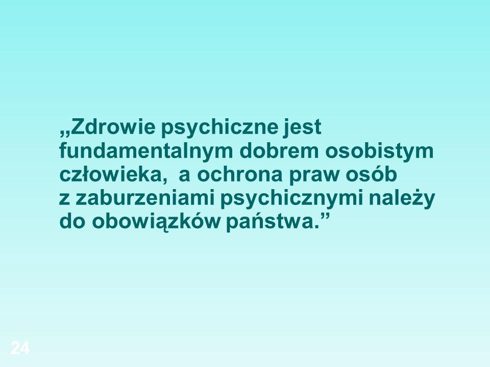 """""""Zdrowie psychiczne jest fundamentalnym dobrem osobistym człowieka, a ochrona praw osób z zaburzeniami psychicznymi należy do obowiązków państwa."""