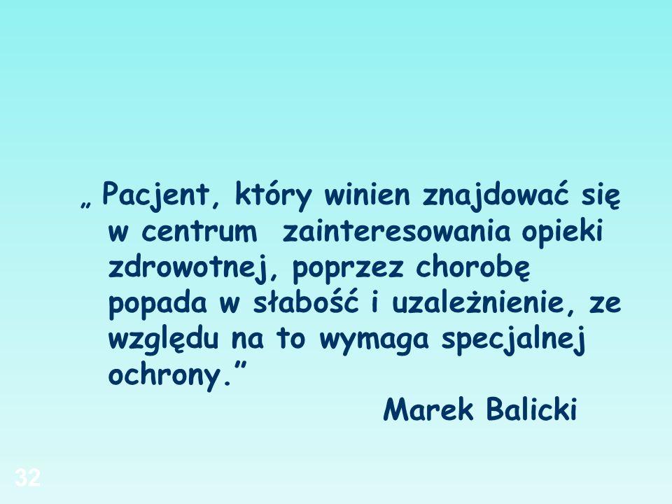 """"""" Pacjent, który winien znajdować się w centrum zainteresowania opieki zdrowotnej, poprzez chorobę popada w słabość i uzależnienie, ze względu na to wymaga specjalnej ochrony. Marek Balicki"""