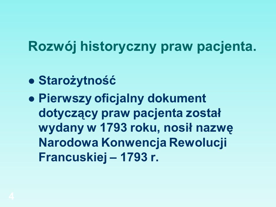 Rozwój historyczny praw pacjenta.
