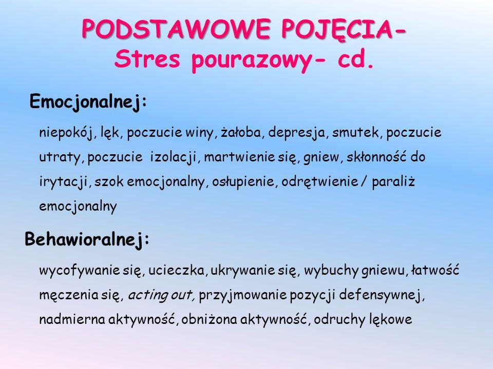 PODSTAWOWE POJĘCIA- Stres pourazowy- cd.