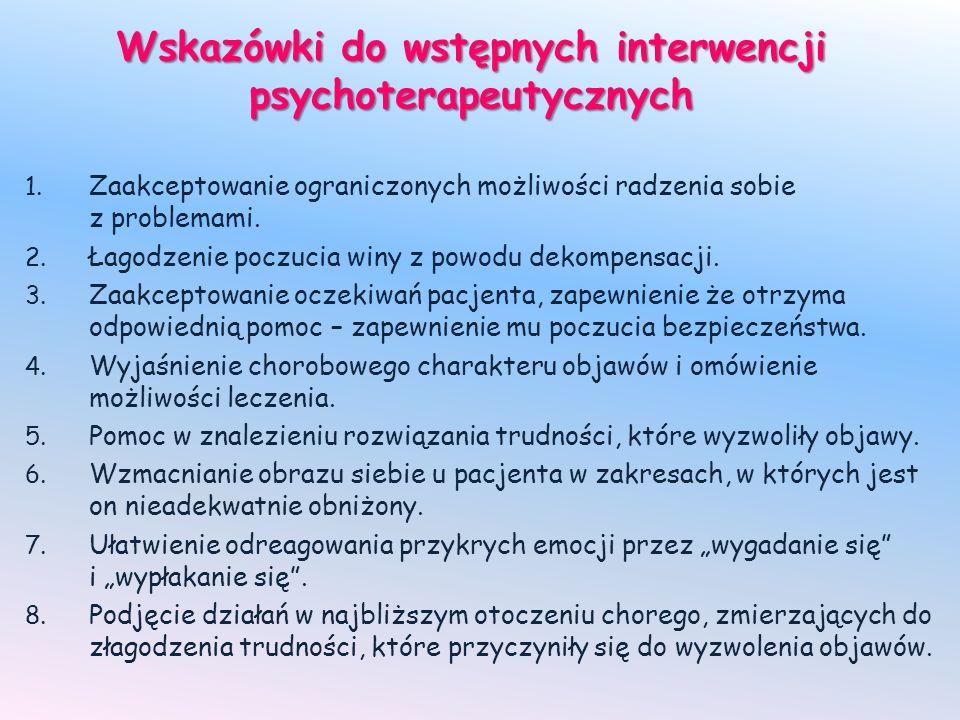 Wskazówki do wstępnych interwencji psychoterapeutycznych