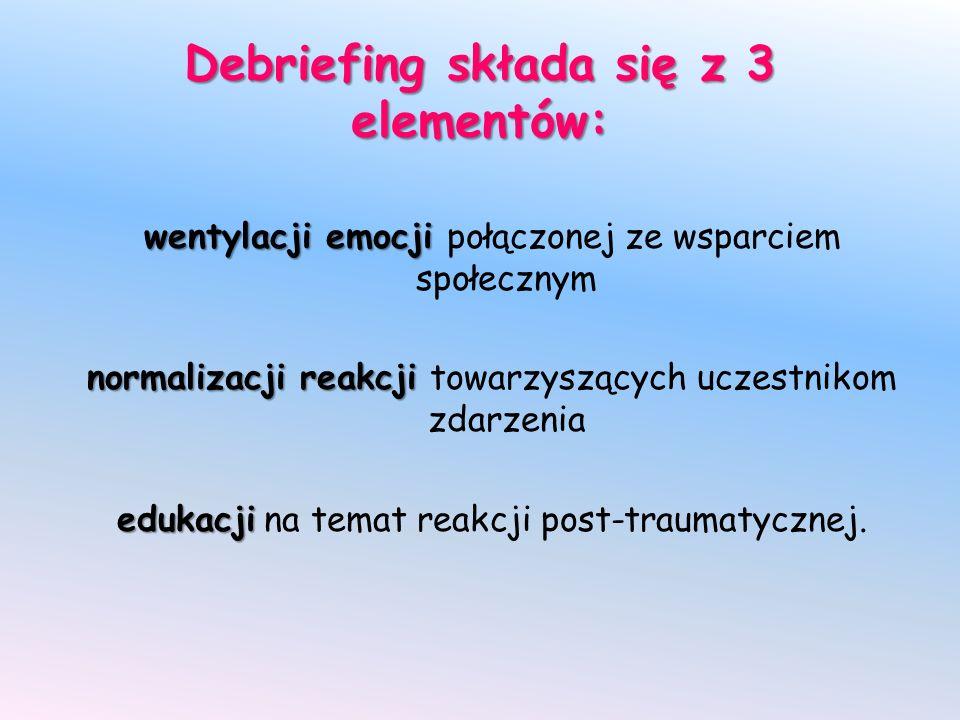 Debriefing składa się z 3 elementów: