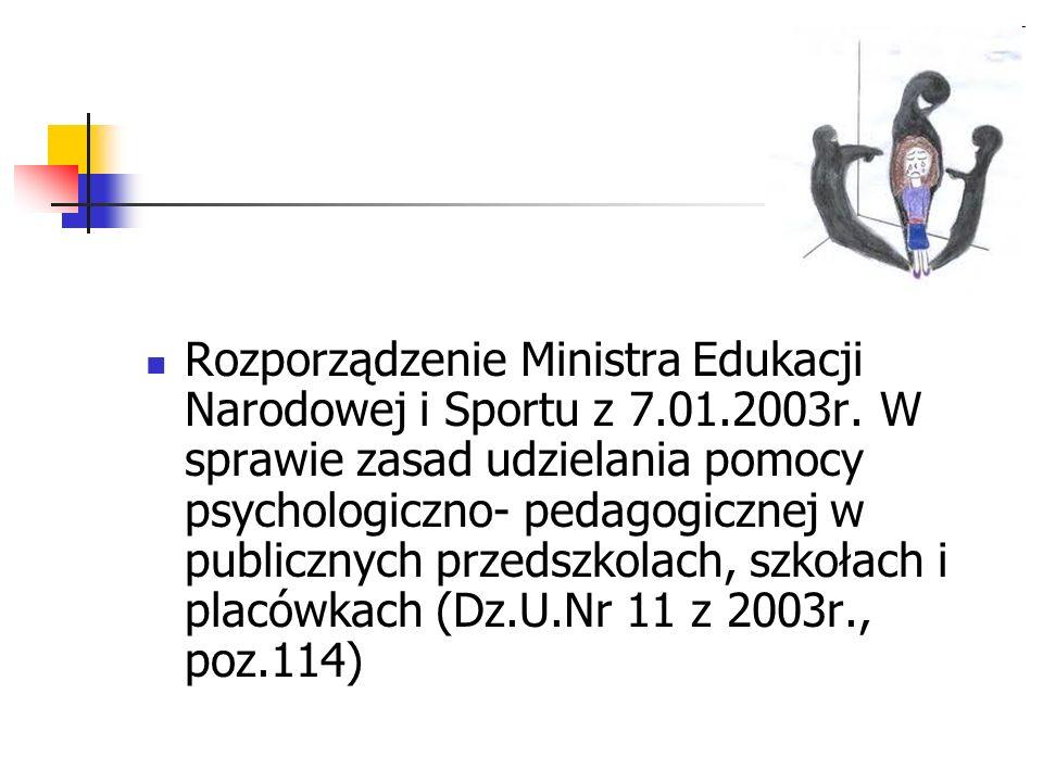 Rozporządzenie Ministra Edukacji Narodowej i Sportu z 7. 01. 2003r