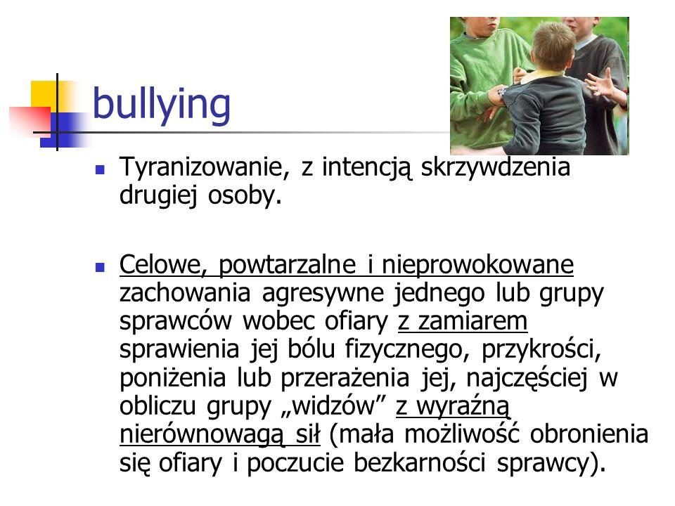 bullying Tyranizowanie, z intencją skrzywdzenia drugiej osoby.
