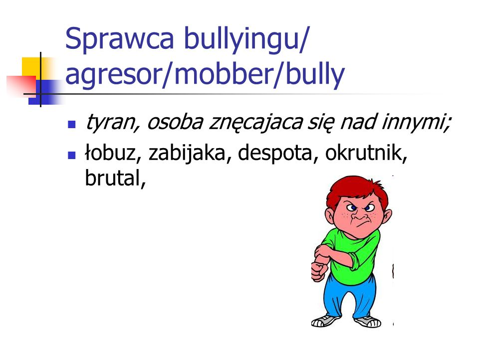 Sprawca bullyingu/ agresor/mobber/bully
