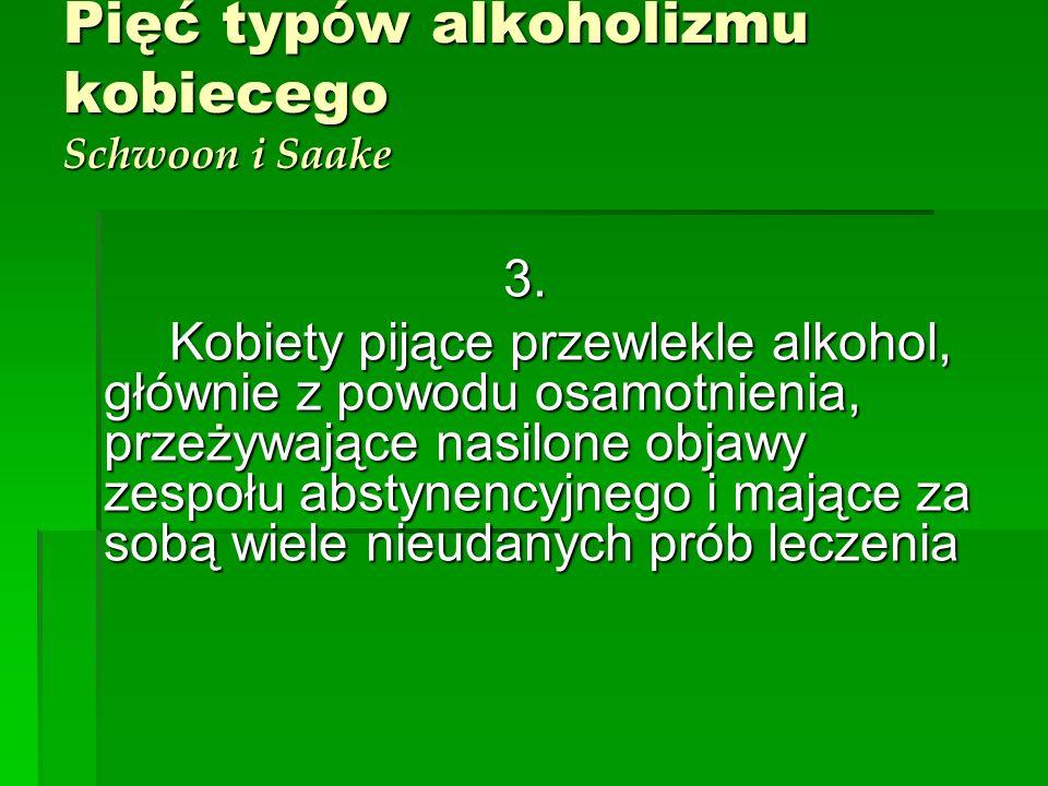 Pięć typów alkoholizmu kobiecego Schwoon i Saake