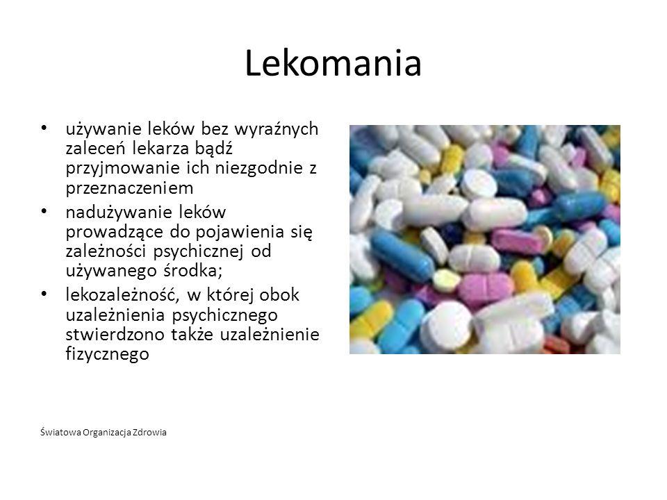 Lekomania używanie leków bez wyraźnych zaleceń lekarza bądź przyjmowanie ich niezgodnie z przeznaczeniem.