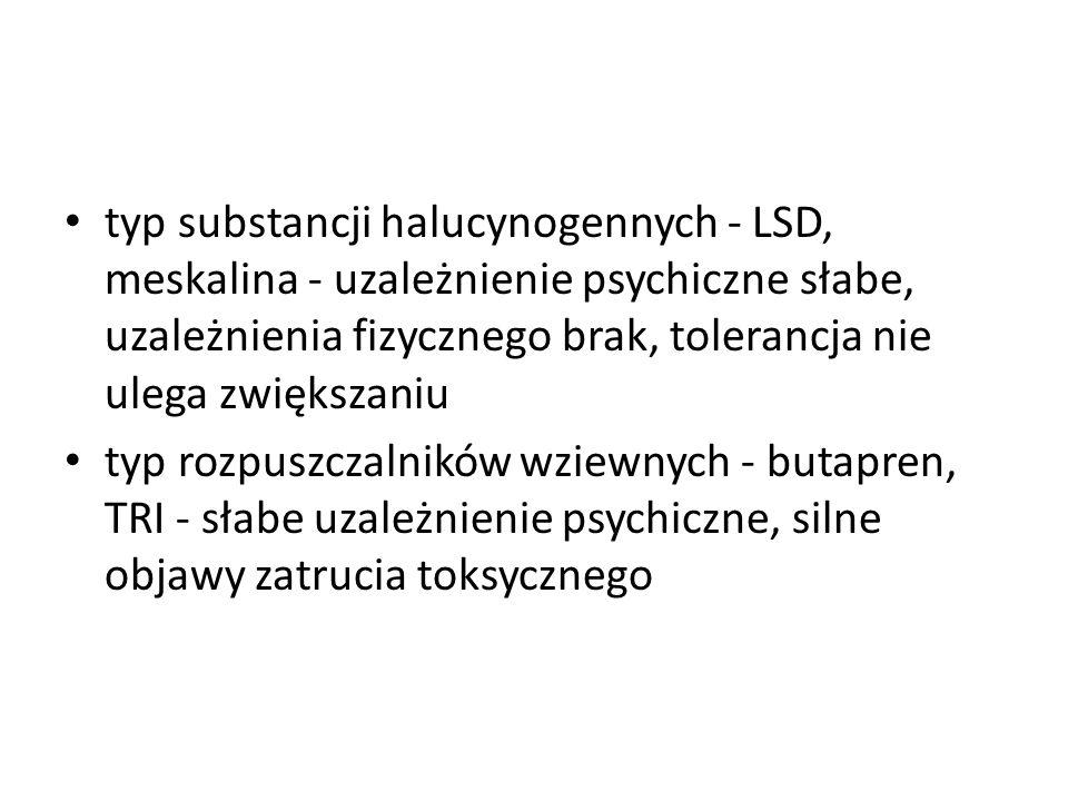 typ substancji halucynogennych - LSD, meskalina - uzależnienie psychiczne słabe, uzależnienia fizycznego brak, tolerancja nie ulega zwiększaniu