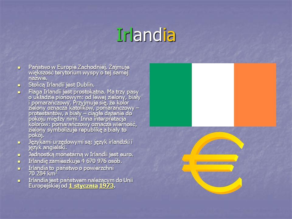 Irlandia Państwo w Europie Zachodniej. Zajmuje większość terytorium wyspy o tej samej nazwie. Stolicą Irlandii jest Dublin.