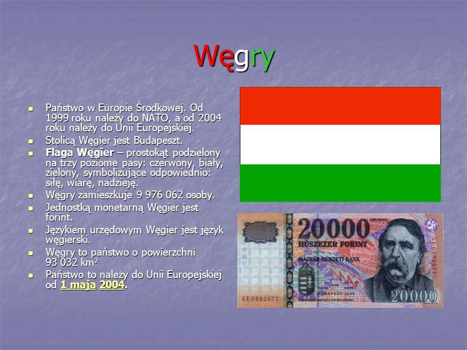 Węgry Państwo w Europie Środkowej. Od 1999 roku należy do NATO, a od 2004 roku należy do Unii Europejskiej.