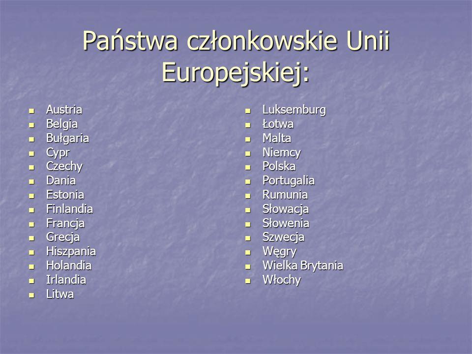 Państwa członkowskie Unii Europejskiej: