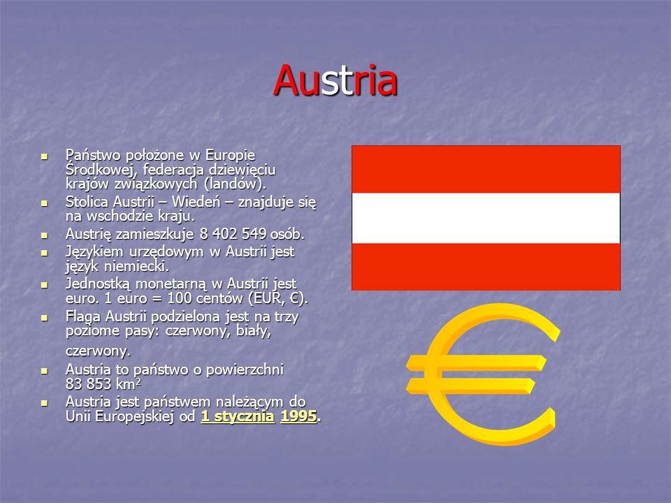 Austria Państwo położone w Europie Środkowej, federacja dziewięciu krajów związkowych (landów).
