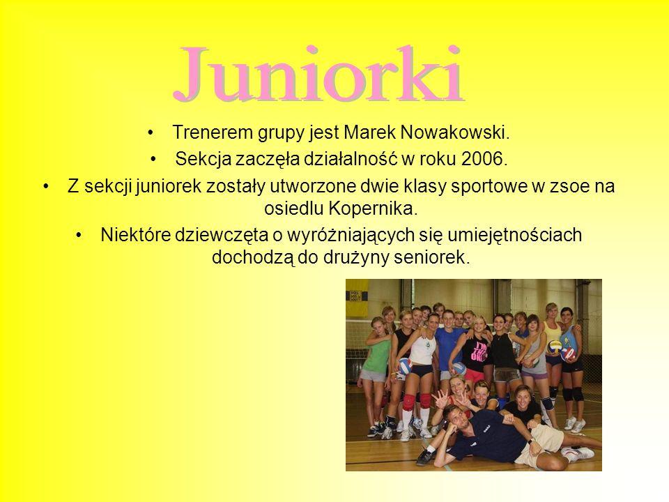 Juniorki Trenerem grupy jest Marek Nowakowski.