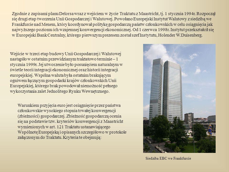 Zgodnie z zapisami planu Delorsa wraz z wejściem w życie Traktatu z Maastricht, tj. 1 stycznia 1994r. Rozpoczął się drugi etap tworzenia Unii Gospodarczej i Walutowej. Powołano Europejski Instytut Walutowy z siedzibą we Frankfurcie nad Menem, który koordynował politykę gospodarczą państw członkowskich w celu osiągnięcia jak najwyższego poziomu ich wzajemnej konwergencji ekonomicznej. Od 1 czerwca 1998r. Instytut przekształcił się w Europejski Bank Centralny, którego pierwszym prezesem został szef Instytutu, Holender W.Duisenberg.