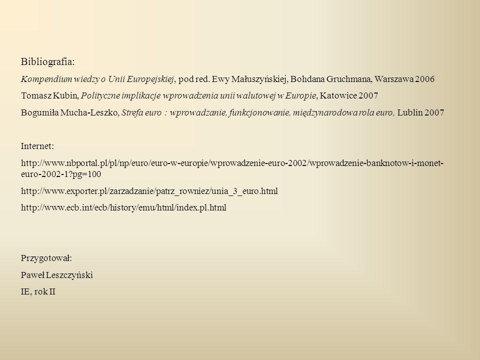 Bibliografia: Kompendium wiedzy o Unii Europejskiej, pod red. Ewy Małuszyńskiej, Bohdana Gruchmana, Warszawa 2006.