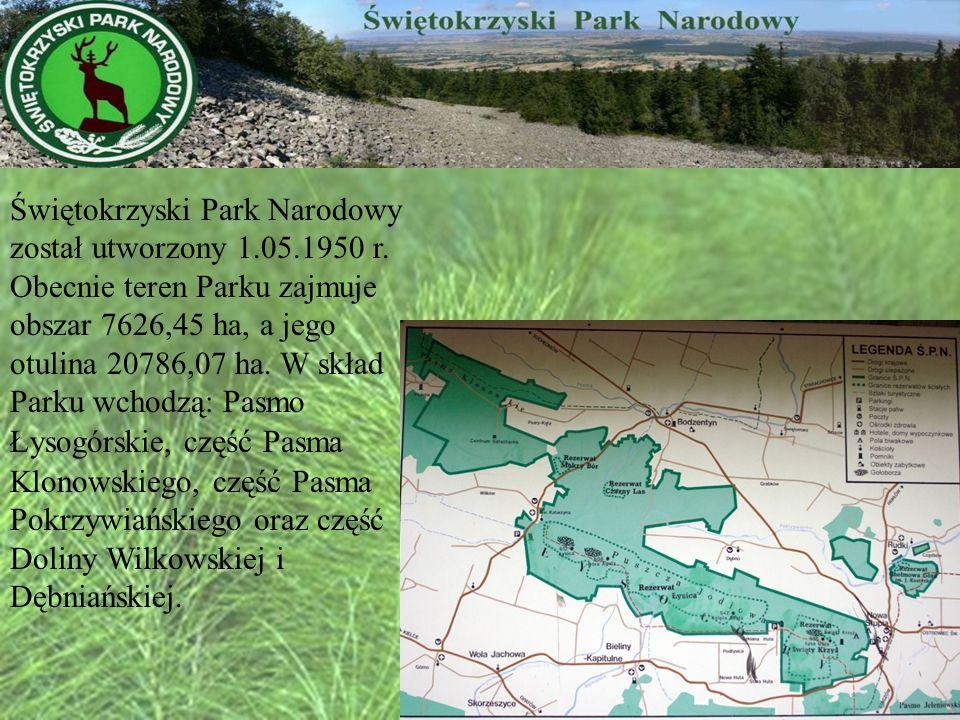 Świętokrzyski Park Narodowy został utworzony 1. 05. 1950 r