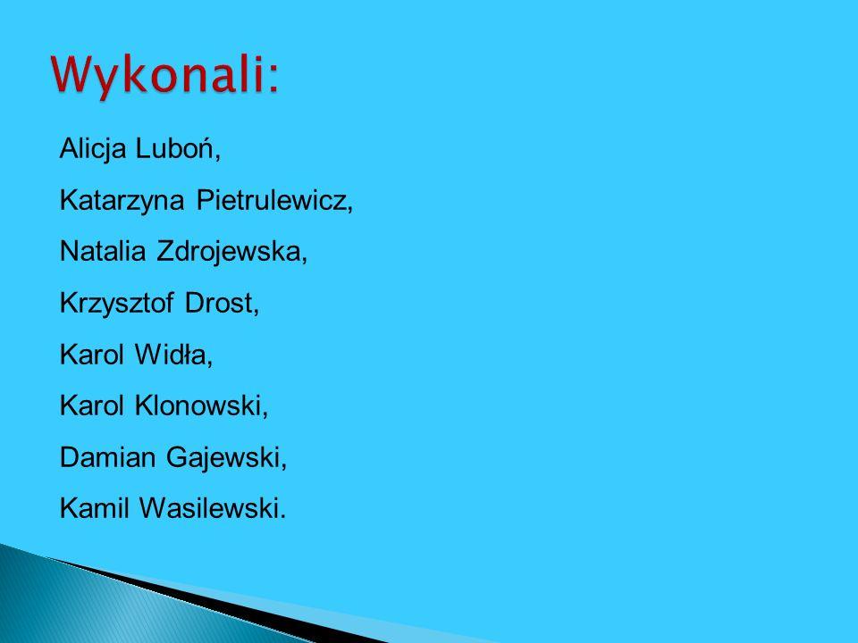 Wykonali: Alicja Luboń, Katarzyna Pietrulewicz, Natalia Zdrojewska,