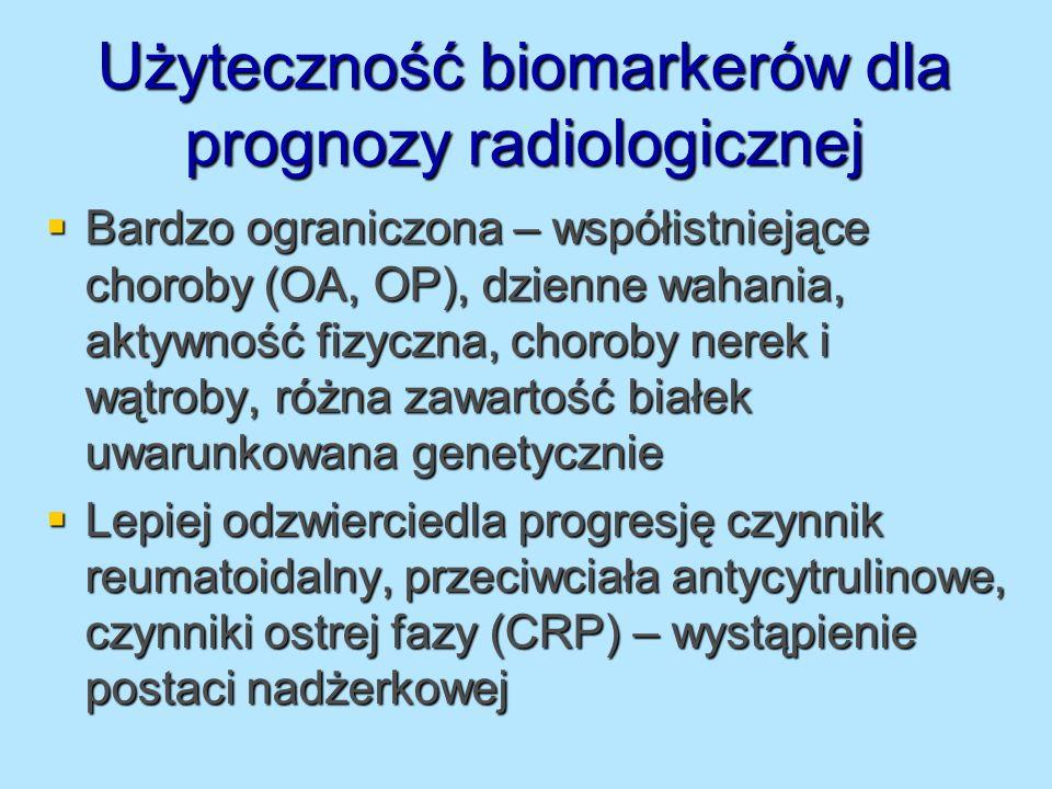 Użyteczność biomarkerów dla prognozy radiologicznej