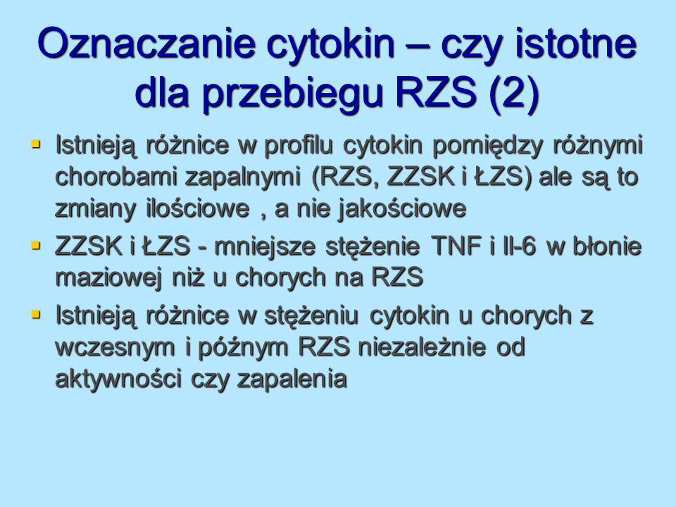 Oznaczanie cytokin – czy istotne dla przebiegu RZS (2)