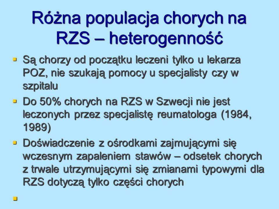 Różna populacja chorych na RZS – heterogenność