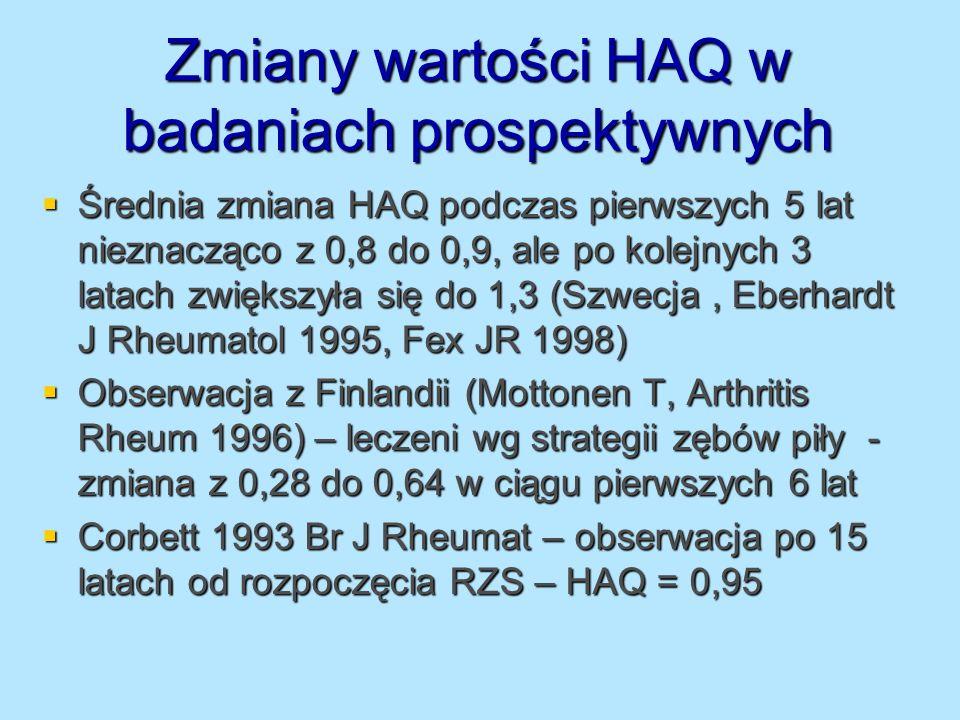 Zmiany wartości HAQ w badaniach prospektywnych