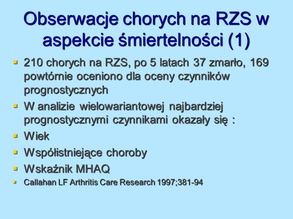 Obserwacje chorych na RZS w aspekcie śmiertelności (1)
