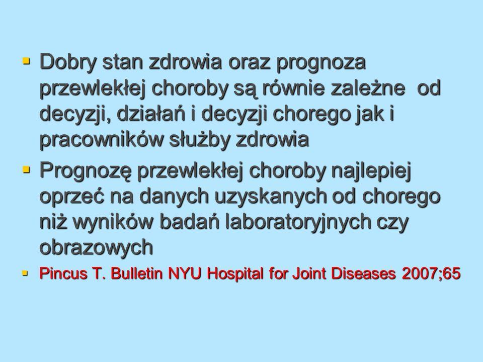 Dobry stan zdrowia oraz prognoza przewlekłej choroby są równie zależne od decyzji, działań i decyzji chorego jak i pracowników służby zdrowia