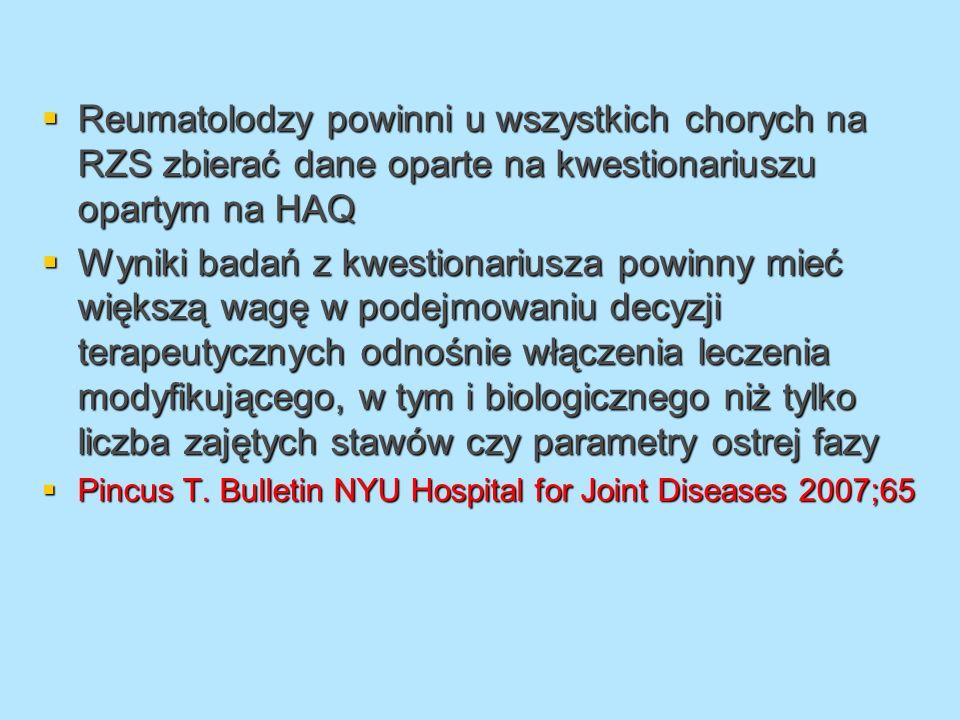 Reumatolodzy powinni u wszystkich chorych na RZS zbierać dane oparte na kwestionariuszu opartym na HAQ