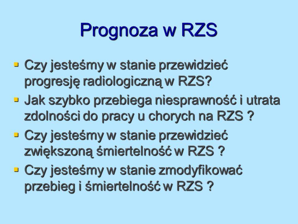 Prognoza w RZS Czy jesteśmy w stanie przewidzieć progresję radiologiczną w RZS